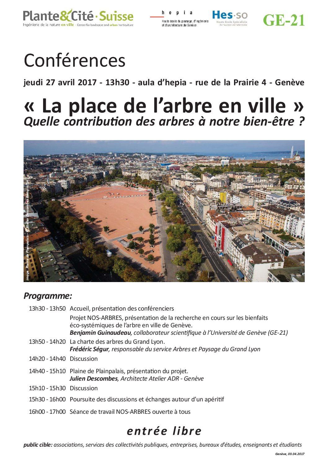Conférences : «La place de l'arbre en ville» Quelle contribution des arbres à notre bien-être?