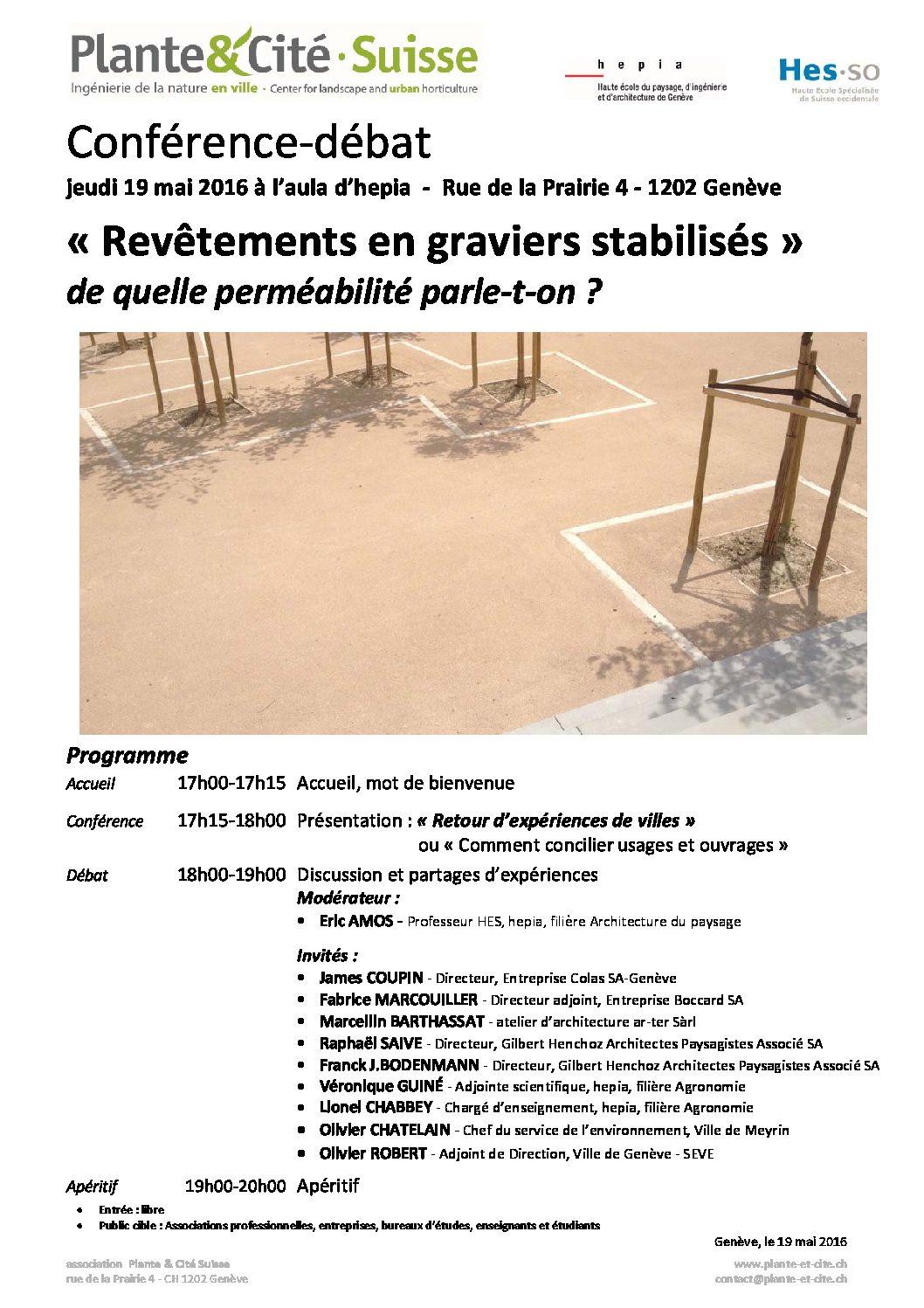 """Conférence et débat: """"Revêtements en graviers stabilisés"""""""